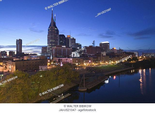 Downtown along Cumberland River, Nashville, Tennessee, USA