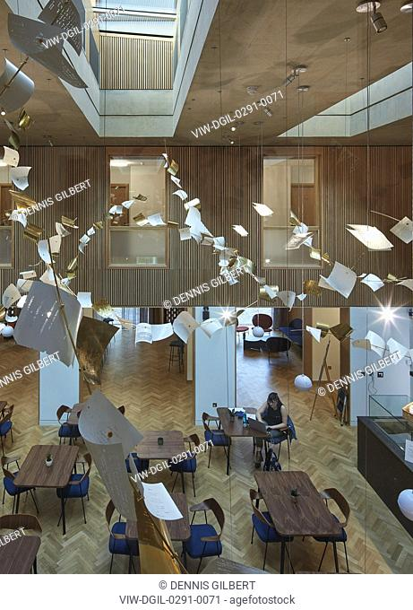 Student cafe viewed from above. Newnham College, Cambridge, Cambridge, United Kingdom. Architect: Walters and Cohen Ltd, 2018