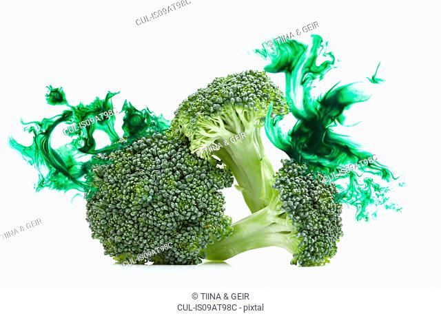 Broccoli stems with corresponding coloured digital burst effect