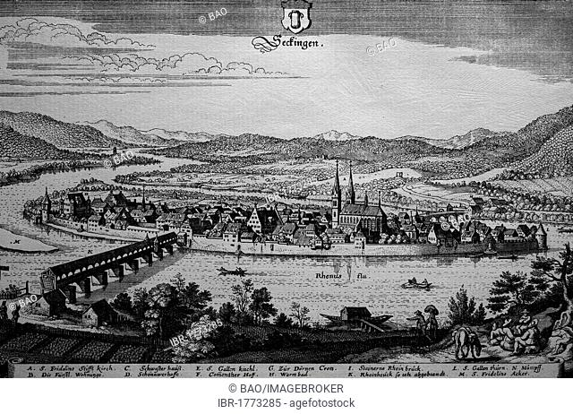 Seckingen, Germany, in the 17th century, historical steel engraving