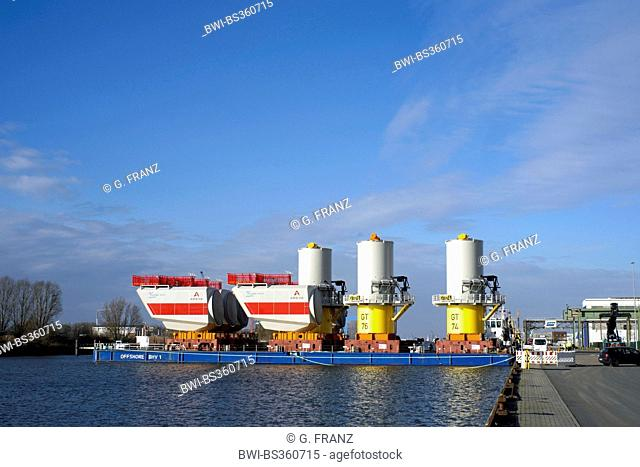 components for offshore wind farm in harbour, Germany, Bremerhaven