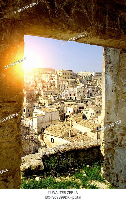 Cityscape from ruin doorway, Matera, Basilicata, Italy