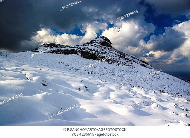 Snowy landscape, Monte Cerredo, Castro Urdiales, Cantabria, Spain