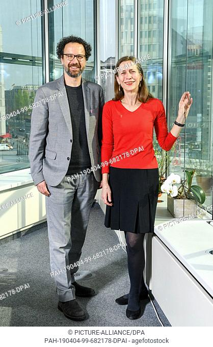 03 April 2019, Berlin: The future management duo Carlo Chatrian, artistic director, and Mariette Rissenbeek, managing director