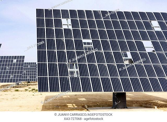 Solar panels by highway C-415 between Murcia (city) and Bullas. Murcia, Spain