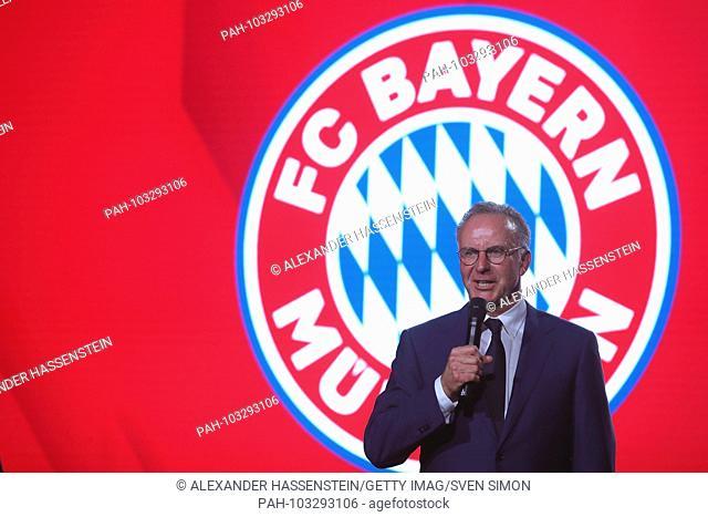 Karl Heinz RUMMENIGGE, (Management Chairman) speaks on the stage. FC Bayern Munich Championship celebration on the Nockherberg in Munich, German Champion 2018