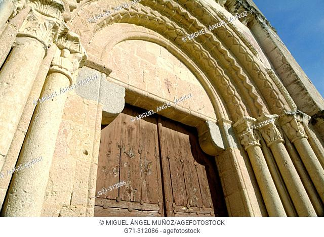 Main door of Church of Vera Cruz (founded by the Templar Knights in the 12th cent.) Transitional style between Romanesque to early Gothic