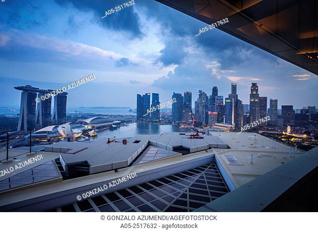 On the left Marina Bay Sands Hotel and ArtScience Museum. On the right Central Business District. Marina Bay. Singapore City Skyline. Singapore. Asia