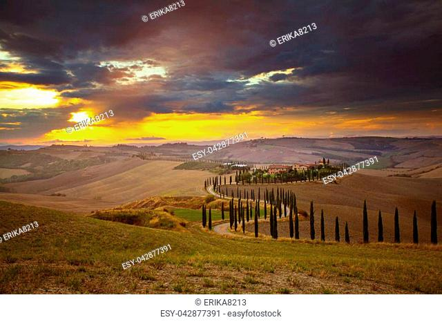 Classic view of scenic Tuscany landscape with idyllic rolling hills and valleys in beautiful golden sunset, Val d'Orcia, Italy