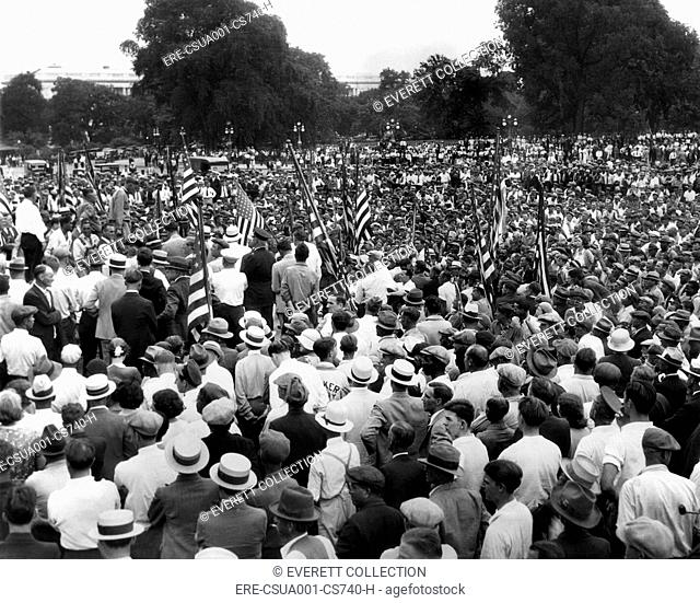 Walter W. Waters, speaks to Bonus Army. On July 16, 1932, Veterans continued to protest the adjournment of Congress. Other vets attempted to break through...