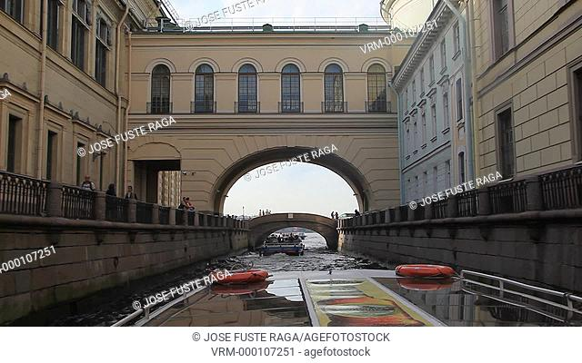 Rusia , San Petersburg City, Boat trip on canal