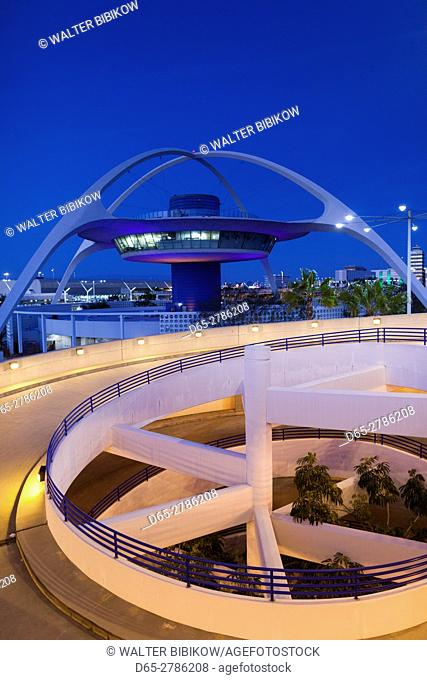USA, California, Los Angeles, LAX, Los Angeles International Airport, former airport control tower, now a bar, dusk