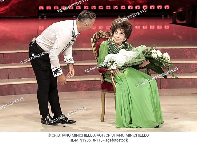 Paolo Belli, Gina Lollobrigida during the tv show Dancing with the stars, Rome, ITALY-19-05-2018