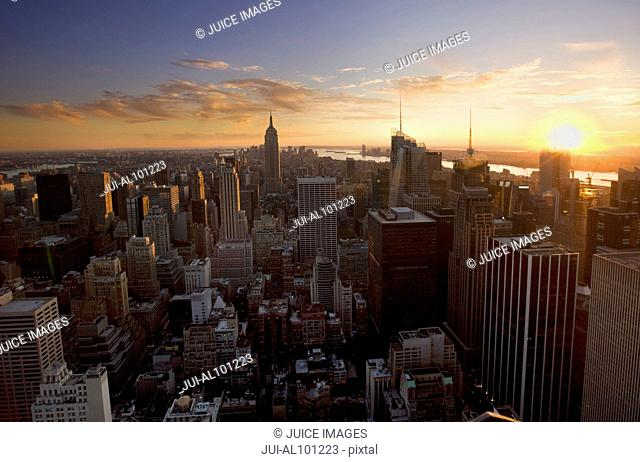 View from Rockefeller Center to Hudson River in the evening, Manhattan, New York City, New York, United States