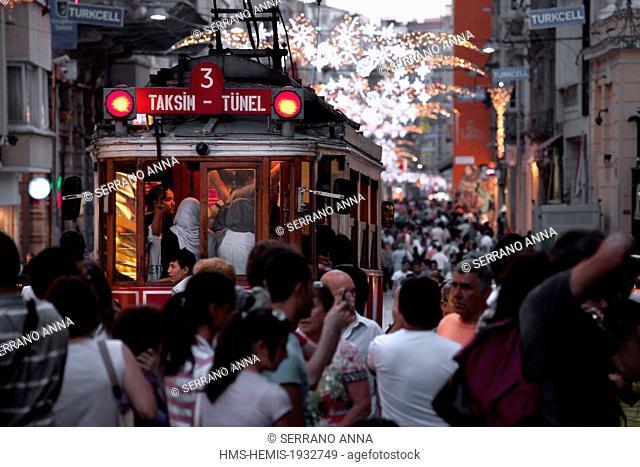 Turkey, Istanbul, Beyoglu, Taksim District, Istiklal Caddesi Street, old tram