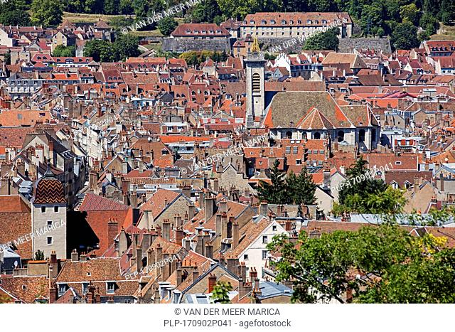 Bird's eye view over the old city and the église Saint-Pierre / St Peter's church of Besançon, Doubs, Bourgogne-Franche-Comté, France