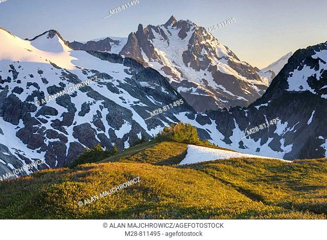 Sunset over NE face of Mount Shuksan 9131 feet, 2783 meters with view of the Price Glacier, North Cascades Washington