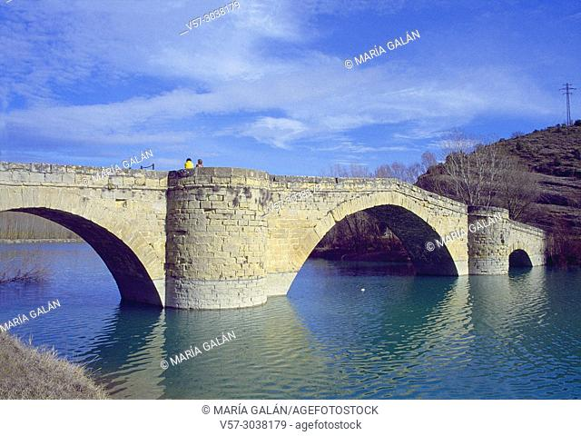 Medieval bridge over river Esera. Graus, Huesca province, Aragon, Spain
