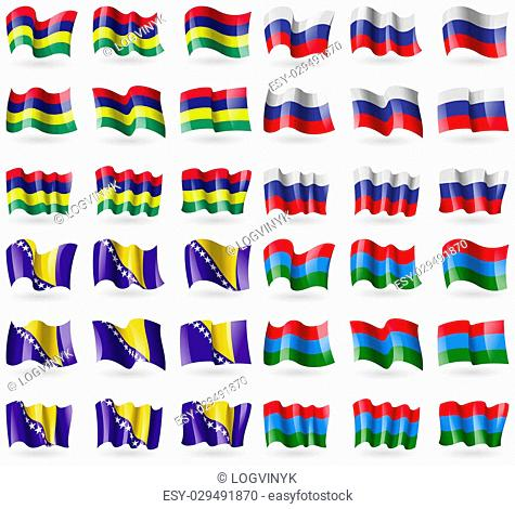 Mauritius, Russia, Bosnia and Herzegovina, Karelia. Set of 36 flags of the countries of the world. illustration