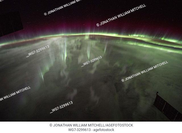 EARTH Southern Hemisphere - 28 Sep 2017 - An amazing display of the Aurora Australis or Southern Lights as seen by astronauts from the International Space...