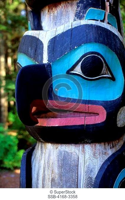 Usa, Alaska, Inside Passage, Baranof Island, Sitka, National Historic Park, Totem, Close-Up