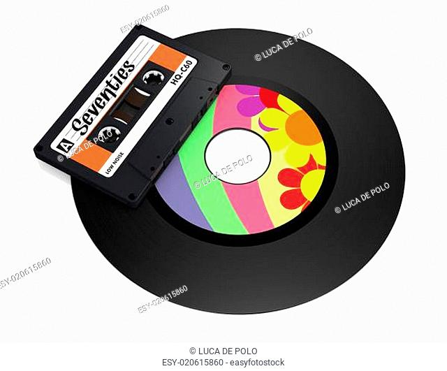 vinyl record and compact cassette