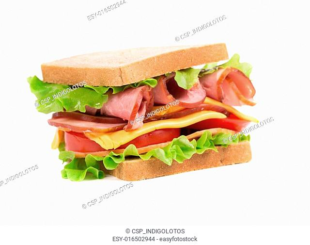 Appetizing sandwich with ham and cheese