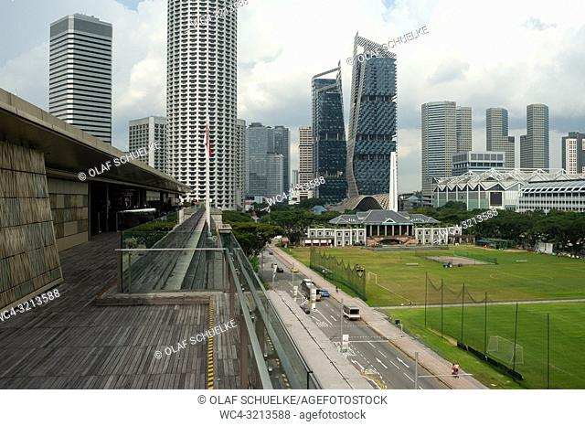Singapore, Republic of Singapore, Asia - View from the rooftop terrace at the National Gallery Singapore of the city skyline