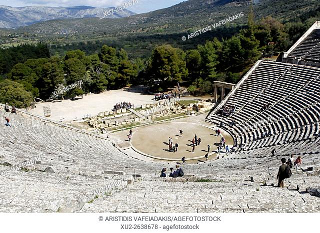 The ancient amphitheatre of Epidaurus, UNESCO World Heritage Site, Peloponnese, Greece, Europe