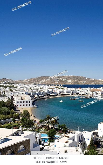 Elevated view of harbor, Mykonos, Cyclades, Greece