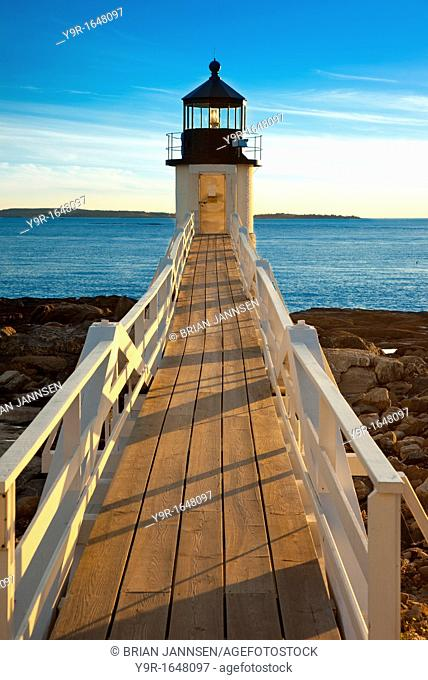 Sunset at Marshall Point Lighthouse - built 1832, near Port Clyde Maine USA