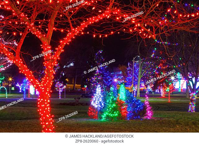 Christmas lights in Victoria Park at night. Cobourg, Ontario, Canada