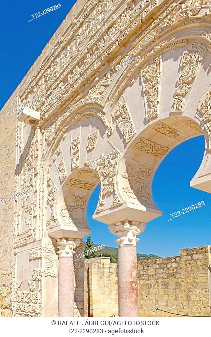 Córdoba (Spain). Architectural detail of the house of Ja'far inside the archaeological site of Medina Azahara in Cordoba