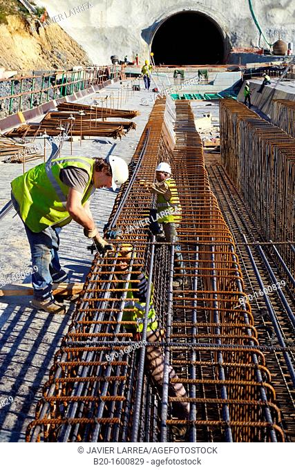Installation of rebar, reinforcing steel bars for concrete formwork, Construction of viaduct, Works of the new railway platform in the Basque Country