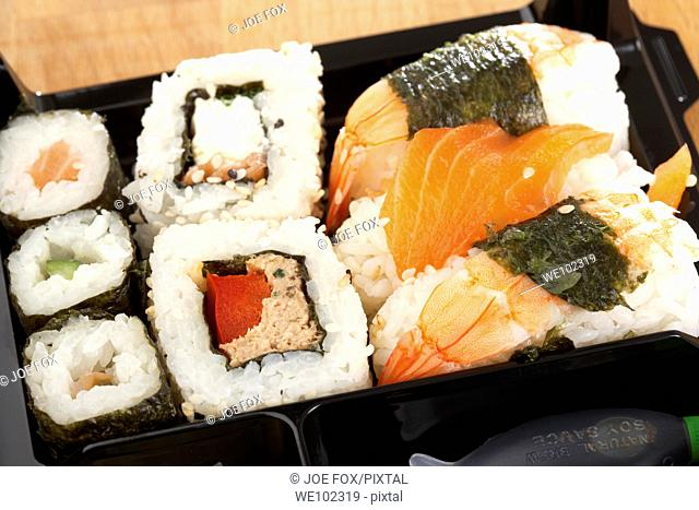 box of supermarket prepared sushi lunch selection