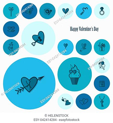 Simple Flat Icons Collection for Valentines Day, Wedding, Love and Romantic Events. Vector