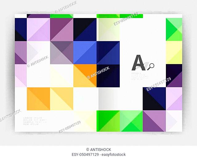 Vector square minimalistic abstract background, print template business brochure a4. Vector template background for print workflow layout, diagram