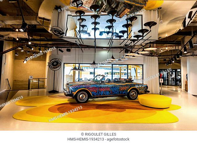 France, Paris, Hotel Molitor swimming pool, opening in May 2014, listed as historical monument, Art Deco, Rolls Royce tagged by American artist JonOne in the...
