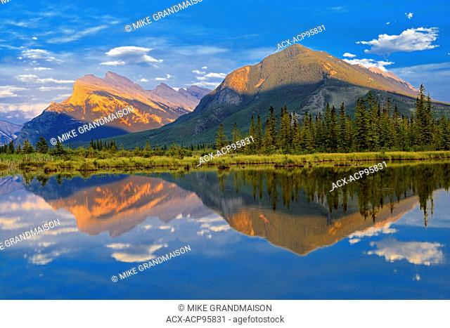 Mt. Rundle and Sulfur Mountain reflected in Vermillion Lakes Banff National Park Alberta Canada