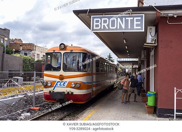 Train, Bronte station, Ferrovia Circumetnea, Catania, Sicily, Italy