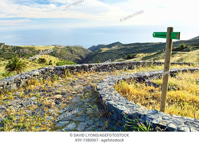 La Gomera, Canary Islands  A path leads to the Dragon Tree north of Alajero  The island of El Hierro in the distance