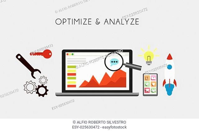 Web Optimization - Optimize and analize flat concept