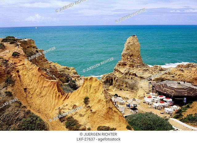 Bar at the Beach, Algar Seco near Carvoeiro, Algarve, Portugal