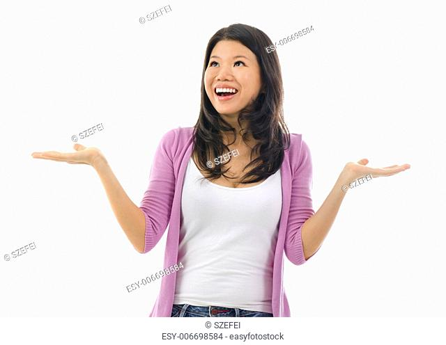Happy Asian woman open her arms with surprising face over white background