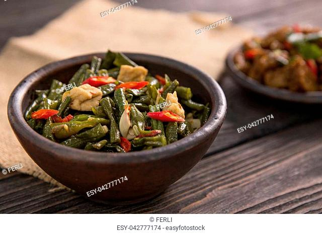 traditional indonesian food. asian culinary sayur kacang panjang