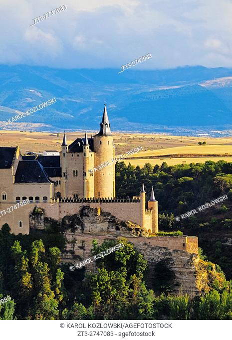 Spain, Castile and Leon, Segovia, View of the Alcazar