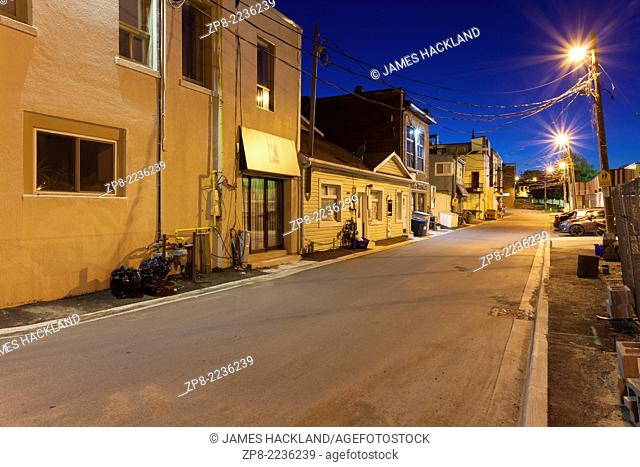 Cedar St. at dusk in downtown Newmarket, Ontario, Canada