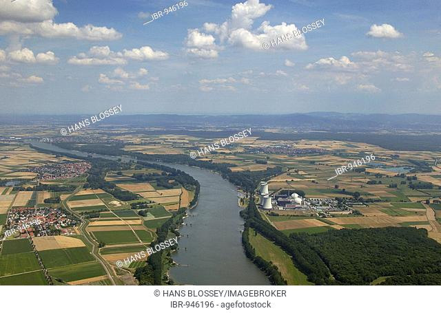 Nuclear Power Plant Biblis, aerial view, Hesse, Germany, Europe