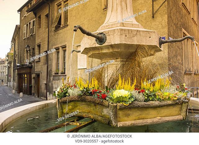 Fountain, Old town, historic center. Geneva. Switzerland, Europe