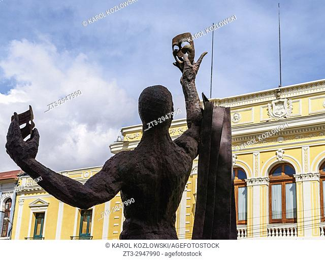 Actor Monument in front of the Alberto Saavedra Perez Municipal Theatre, Old Town, La Paz, Bolivia